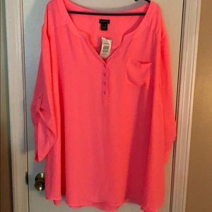 NWT Torrid Neon Pink Georgette Blouse size 5 26/28